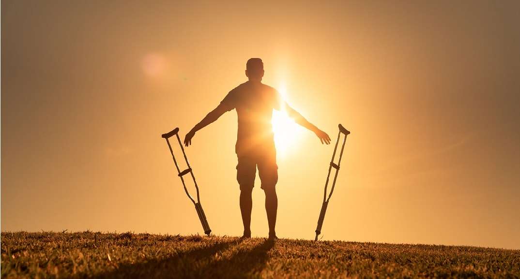 Man,Letting,Go,Of,Crutches,Able,To,Walk,Again.,Body