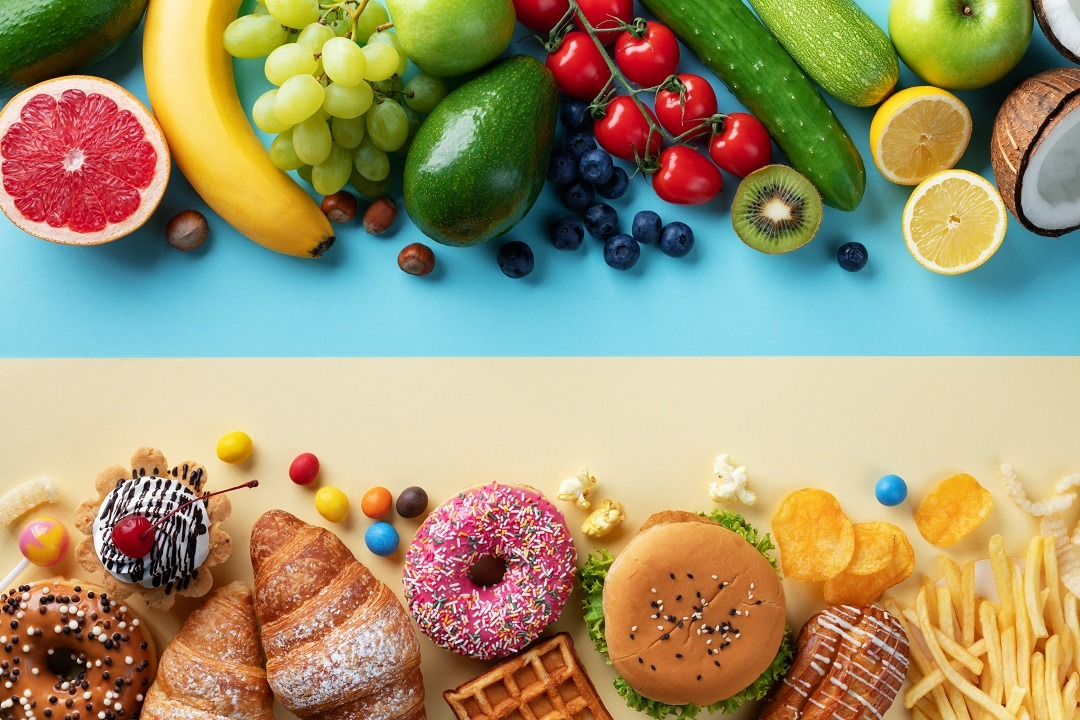 Healthy,And,Unhealthy,Food,Background,From,Fruits,And,Vegetables,Vs